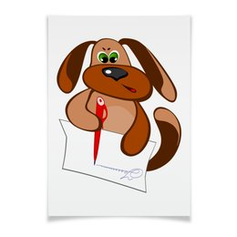"""Плакат A3(29.7x42) """"Без названияПес Захар пишет письмо"""" - пес, письмо, уроки, писать, сочинение"""