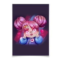 """Плакат A3(29.7x42) """"Влюбленная аниме девочка"""" - любовь, розовый, чиби, гном, chibi"""