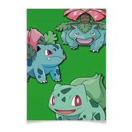 "Плакат A3(29.7x42) ""Эволюция Бульбазавра"" - нинтендо, бульбазавр, покемон го, венузавр, ивизавр"