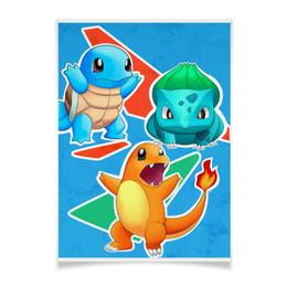 "Плакат A3(29.7x42) ""Покемоны"" - сквиртл, бульбазавр, чармандер, pokemon go, покемон го"
