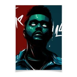 "Плакат A3(29.7x42) ""The Weeknd neon"" - digitalart, music, rap, theweeknd, star"