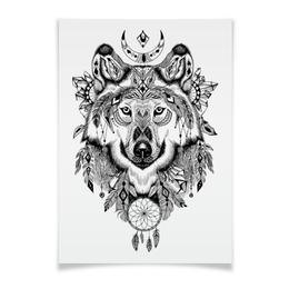 """Плакат A3(29.7x42) """"Тотем. Волк"""" - графика, волк, тотем"""
