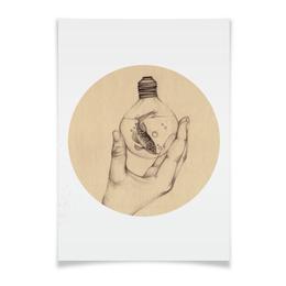 """Плакат A3(29.7x42) """"Рыбка в лампочке"""" - арт, рука, рыба, плакат, лампочка"""