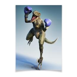 """Плакат A3(29.7x42) """"Динозавр - боксёр"""" - арт, боксёр, динозавр"""