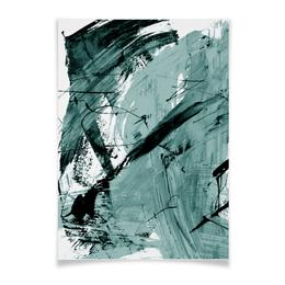 """Плакат A3(29.7x42) """"волна"""" - голубой, волна, краски, хаос"""