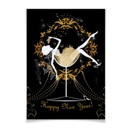 """Плакат A3(29.7x42) """"Красивая девушка в бокале с шампанским"""" - силуэт, стильный, фэшн, фешн, модный"""