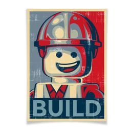 """Плакат A3(29.7x42) """"Лего Строитель"""" - строитель, lego, лего"""