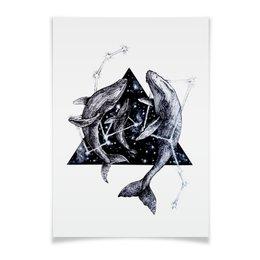 """Плакат A3(29.7x42) """"Китики"""" - кит, космос, звезды, киты, море"""