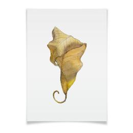 "Плакат A3(29.7x42) ""Лист Фикуса Бенджамина"" - арт, лист, акварель, авторская работа, фикус"