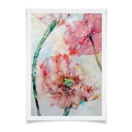 """Плакат A3(29.7x42) """"Три мака"""" - цветок, розовый, нежный, акварелью, картина акварелью"""