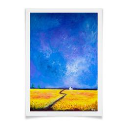 """Плакат A3(29.7x42) """"Маки перед дождем"""" - цветы, желтый, небо, синий, поле"""