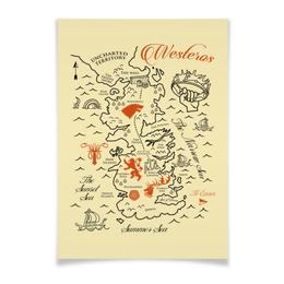 "Плакат A3(29.7x42) ""Карта Вестероса. Игра Престолов"" - сериалы, игра престолов, game of thrones, песнь льда и пламени, вестерос"