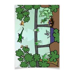 """Плакат A3(29.7x42) """"Семья троллей живет под мостом"""" - дракон, отдых, семья, природа, тролли под мостом"""