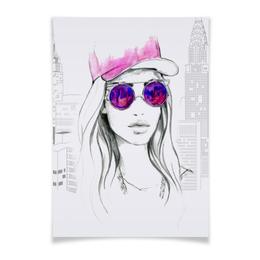 """Плакат A3(29.7x42) """"Фэшн иллюстрация. Девушка в розовых очках"""" - арт, для девушки, стильный, классный, модный"""