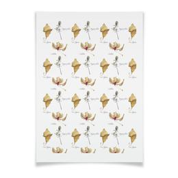 """Плакат A3(29.7x42) """"орхидея лист и колючка"""" - арт, акварель, авторская работа, орхидея, фикус"""