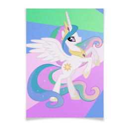 """Плакат A3(29.7x42) """"Princess Celestia Color Line"""" - magic, celestia, friendship, princess"""