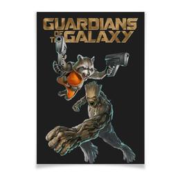 """Плакат A3(29.7x42) """"Rocket Raccoon and Groot/Енот Ракета и Грут"""" - marvel, енот, ракета, rocket, rocket raccoon"""