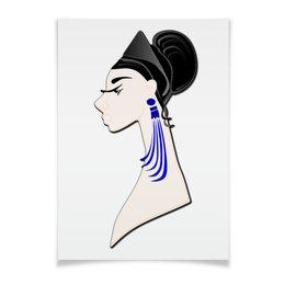 """Плакат A3(29.7x42) """"Девушка в синих сережках"""" - очки, брюнетка, перья, красивая женщина, синие длинные серьги"""