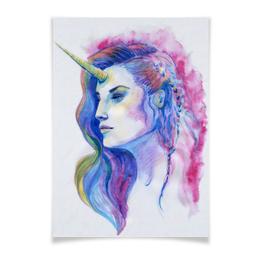 """Плакат A3(29.7x42) """"Единорог. Яркая цветная иллюстрация фэнтези"""" - рисунок, яркий, фэнтези, единорог, современный"""