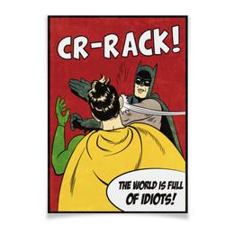 """Плакат 42x29.7(A3) """"Бэтмен и Робин. Пощёчина"""" - прикольные, batman, мемы, бэтмен, бэтмен и робин"""