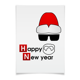 "Плакат A3(29.7x42) ""Happy new year"" - дед мороз, breaking bad, walter white, heisenberg, хайзенберг"