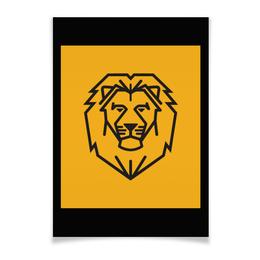 """Плакат A3(29.7x42) """"Лев. Стилизация"""" - лев, рисунок, графика, стилизация"""