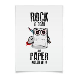 """Плакат A3(29.7x42) """"Rock is Dead"""" - игры, рок, rock, прикольные, камень ножницы бумага"""
