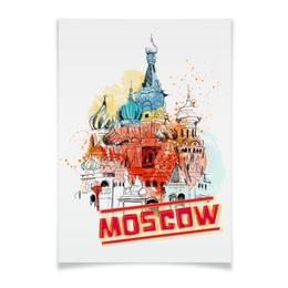 """Плакат A3(29.7x42) """"Москва"""" - москва, россия, храм, красная площадь, василий блаженный"""