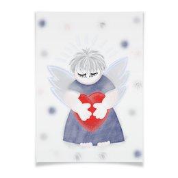 """Плакат A3(29.7x42) """"Маленький сердечный ангел"""" - любовь, ангел, день святого валентина, малыш, день влюбленных"""