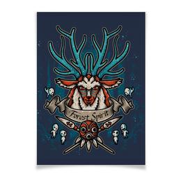 """Плакат A3(29.7x42) """"Forest Spirit. Лесной Дух"""" - рисунок, олень, фэнтэзи, лесной дух"""