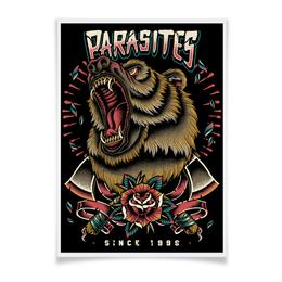 "Плакат A3(29.7x42) ""Grizzlie"" - животные, bear, медведь, tatoo"