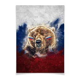 "Плакат A3(29.7x42) ""Русский Медведь"" - флаг, триколор, россия, футбол, медведь"