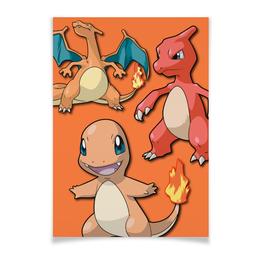 """Плакат A3(29.7x42) """"Эволюция Чармандера"""" - нинтендо, чармандер, покемон го, чаризард, чармилион"""