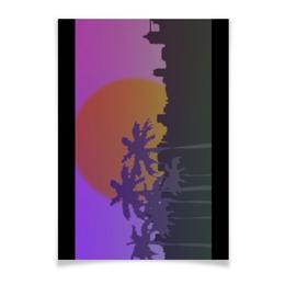 """Плакат A3(29.7x42) """"Ретровейв Пальмы"""" - ретро, 80-е, пальмы, retrowave, ретровейв"""