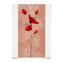 """Плакат A3(29.7x42) """"маки рисунок"""" - цветы, рисунок, природа, иллюстрация"""
