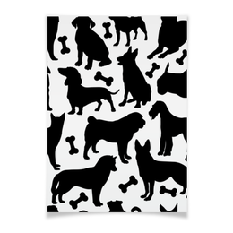 "Плакат A3(29.7x42) ""Собаки"" - животные, dog, собака, пёс, косточка"