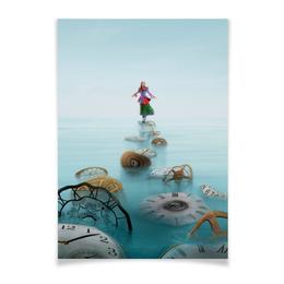 """Плакат A3(29.7x42) """"Алиса"""" - девушка, часы, сказка, wonderland, зазеркалье"""