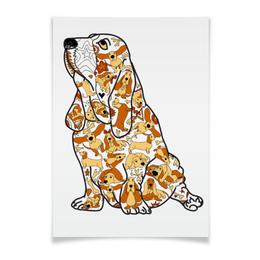 """Плакат A3(29.7x42) """"смешная собака бассет"""" - узор, рисунок, собака, бассет, ушастая"""