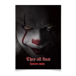 """Плакат A3(29.7x42) """"Клоун Пеннивайз"""" - ужас, клоун, оно, пеннивайз"""