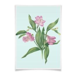 """Плакат A3(29.7x42) """"Цветы альстромерии"""" - ботаническая иллюстрация, blue, акварель, цветы, watercolor flowers"""