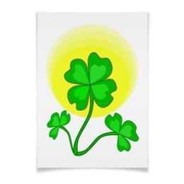 """Плакат A3(29.7x42) """"День святого Патрика - волшебный четырехлистник"""" - зеленый, паттерн, лист клевера, день святого патрика, четырехлистник"""