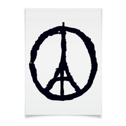 "Плакат A3(29.7x42) ""Париж"" - франция, пацифик, солидарность, терракт"