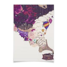 """Плакат A3(29.7x42) """"Вдохновение"""" - музыка, космос, облака, вдохновение, плакат"""