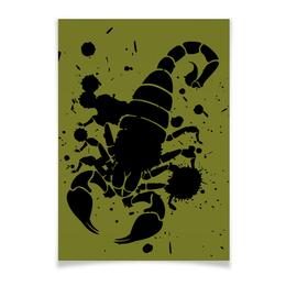"""Плакат A3(29.7x42) """"Скорпион (24.10-21.11)"""" - крутой, оригинальный, стильный, скорпион, биология"""