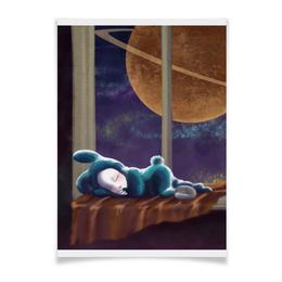 """Плакат A3(29.7x42) """"Спокойный сон"""" - планета, ночь, окно"""