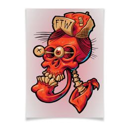 "Плакат A3(29.7x42) ""Череп весёлый арт"" - skull, череп, прикол, арт, дизайн"