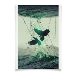 """Плакат A3(29.7x42) """"Вороны"""" - абстракция, фон, птицы, море, фантазия"""