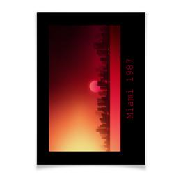 """Плакат A3(29.7x42) """"Майами 1987 (горизонтальный)"""" - ретро, usa, закат, сша, майами"""