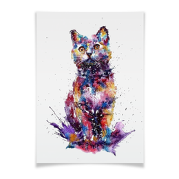 """Плакат A3(29.7x42) """"Кошачий взгляд"""" - кот, взгляд, абстракция, кошачий"""