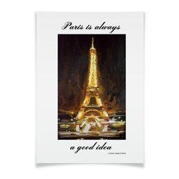 "Плакат A3(29.7x42) ""Париж"" - шоколад, париж, одри хепберн, paris, эйфелева башня"